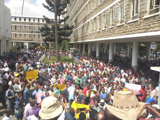 Nairobi county workers outside City Hall.