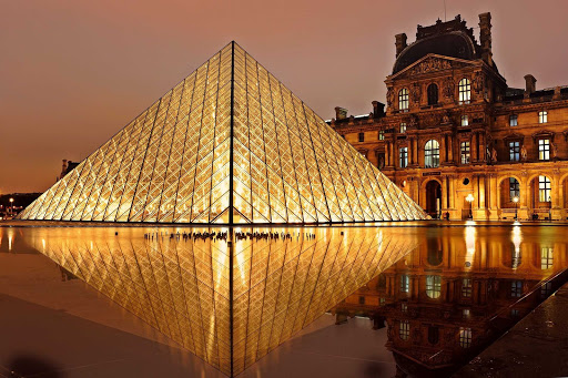 louvre-pyramid-night.jpg - The Louvre Pyramid, in front of the Louvre Palace, illuminated at night in Paris.