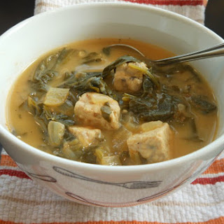 Vegan Tempeh and Turnip Green Soup