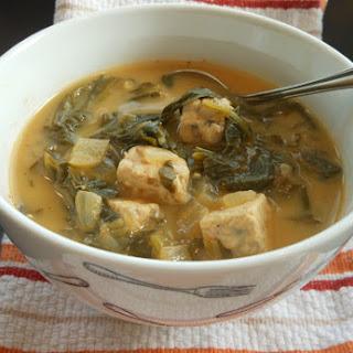 Vegan Tempeh and Turnip Green Soup.