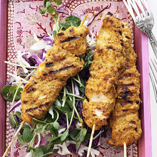 Chicken Skewers with Cabbage Salad.