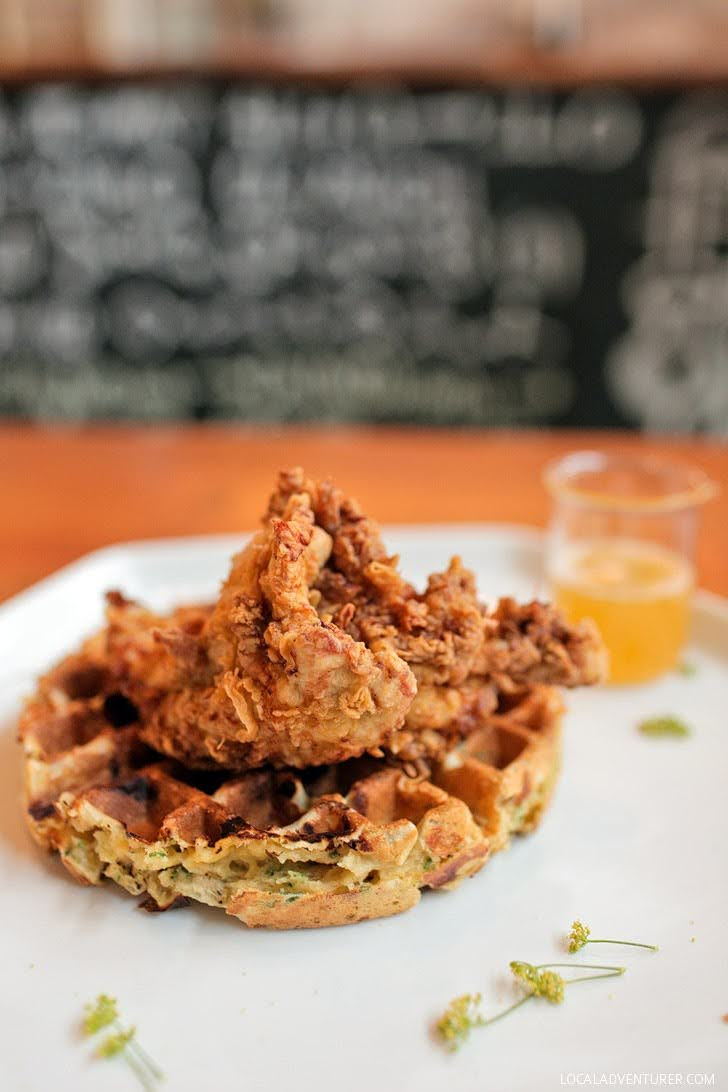 Chicken and Waffles with a Serrano peppers and lime dressing
