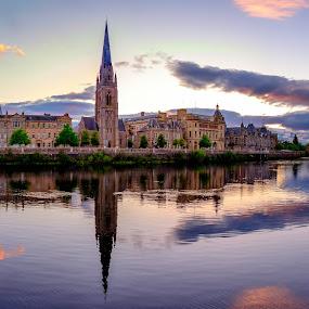 Perth river side  by Martin Tyson - City,  Street & Park  Vistas ( scotland, tay, perth, sunset, town, brige, river )