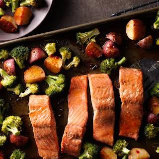 Asian Salmon with Potatoes and Broccoli Sheet-Pan Dinner.