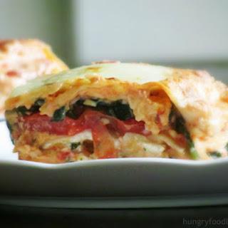 Cheesy Tomato and Spinach Lasagna.