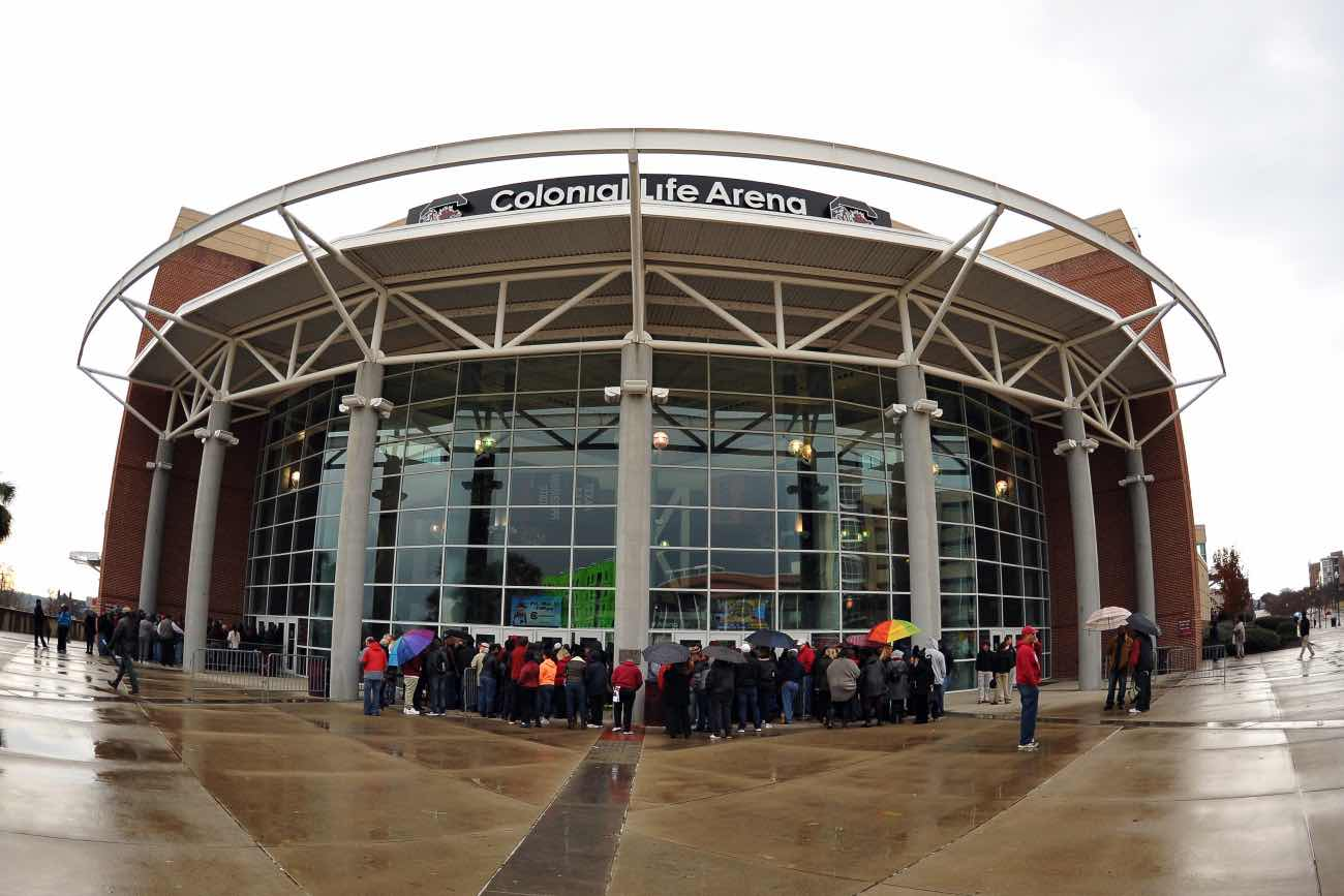 COLUMBIA, SC - FEBRUARY 08: A general view as fans arrive early at the entrance gates prior to a game between the Connecticut Huskies and the South Carolina Gamecocks at Colonial Life Arena on February 8, 2016 in Columbia, South Carolina. The Gamecock Athletics Ticket Office announced this is the first-ever sell-out women's basketball game at the 18,000-seat facility and will be the largest crowd ever to watch an NCAA women's basketball game in the state of South Carolina. (Photo by Lance King/Getty Images)