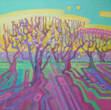 """Photo: """"Orchard Morning"""", acrylic on canvs 12"""" x 12"""", © Nancy Roberts"""