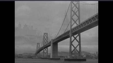 """Photo: Shot 3 of 18.  Duration: 3 seconds.  The third of four establishing shots.  The Bay Bridge again, this time shorn of its super, in case a viewer earlier was too busy reading """"SAN FRANCISCO"""" to notice the iconic piece of engineering."""