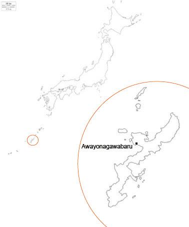 Carte du Japon avec Okinawa et le site de Awayonagawabaru