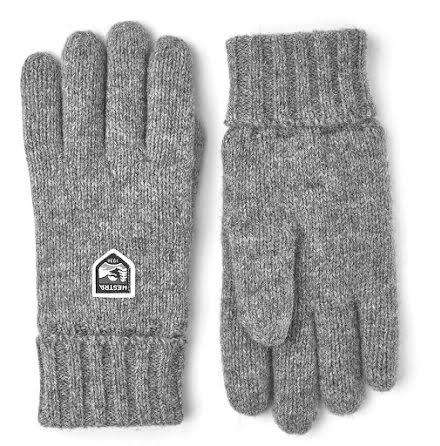 Hestra Basic wool glove stickad handske ljusgrå