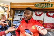 Aphiwe Dyantyi of the Lions during the Emirates Lions mixed zone at Museum, Emirates Airline Park on June 11, 2019 in Johannesburg, South Africa.