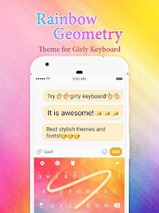 Rainbow Geometry Keyboard Theme for Girls - náhled