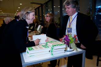 Photo: Karen Elliott House discusses her book with a participant at the RAND Politics Aside event in Santa Monica.