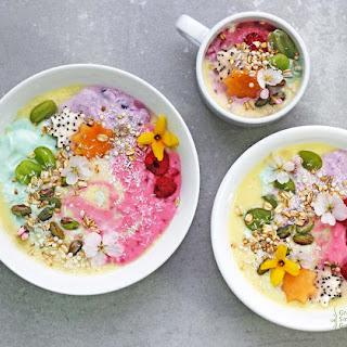 Rainbow Unicorn Protein Smoothie Bowls.