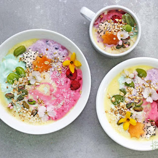 Rainbow Unicorn Protein Smoothie Bowls.
