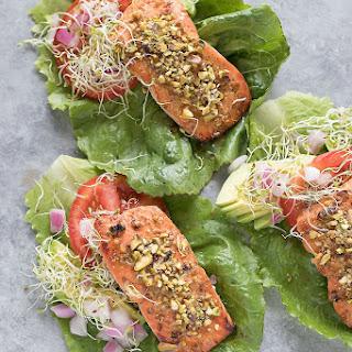 15-Minute Pistachio Crusted Salmon Lettuce Wraps.