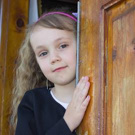 Girl in the door by Nicolae Bocâncă - Babies & Children Children Candids ( girl door church )
