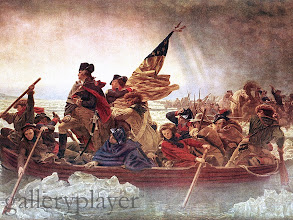 Photo: George Washington stands tall as his boat crosses turbulent water in the Delaware River in 1776. 1851