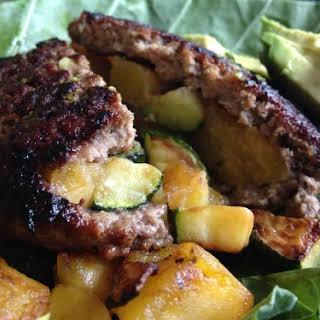 Plantain and Zucchini Stuffed Lamb Burgers.