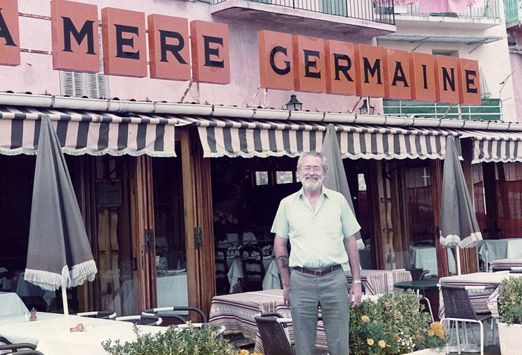 Bob during visit to France in front of La Mere Germaine restaurant