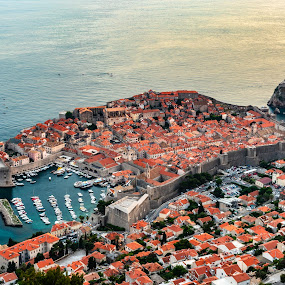 Old Town from Above by Ryan Inhof - City,  Street & Park  Historic Districts ( croatia, coast, dalmatia, kayaks, ocean, harbor, old town, dubrovnik, sea )