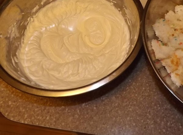 In a real large pan whip room-temp cream cheese gradually adding large spoonfuls of...