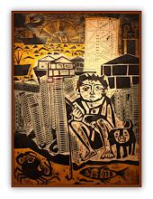 Photo: Antonio Berni Juanito pescando 1962. 194 x 145 cm. Xilocollage y colores con plantilla. Firmado sin fecha. Colección Museo Castagnino+Macro, Rosario, Argentina. Expo: Antonio Berni. Juanito y Ramona (MALBA 2014-2015)