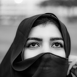 Sight by Mohamed Mashaheet - Black & White Portraits & People ( scarf, black, black and white, eyes,  )