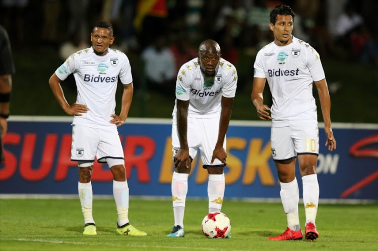 Daine Klate , Sfiso Hlanti and Ahmed Gamal Amr of Bidvest Wits and of Bloemfontein Celtic during the Telkom Knockout Final match between Bloemfontein Celtic and Bidvest Wits at Princess Magogo Stadium on December 02, 2017 in Durban.