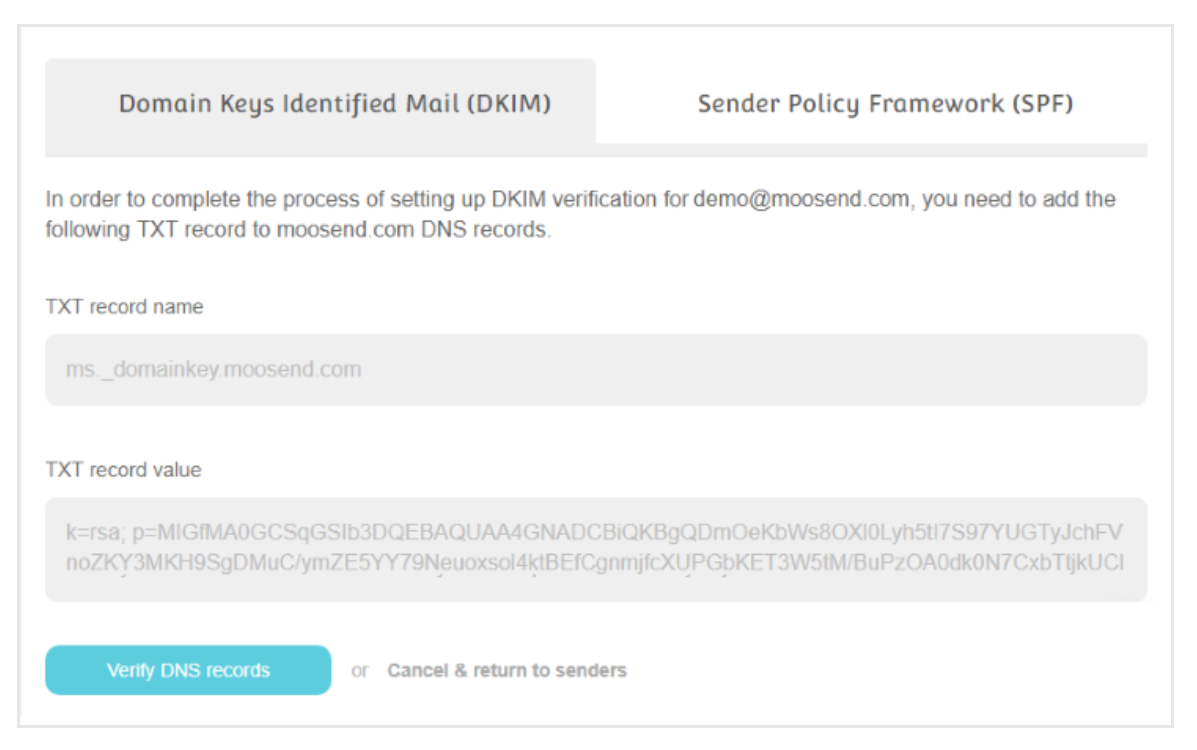 Screenshot showing DKIM and SPF authentication on Moosend