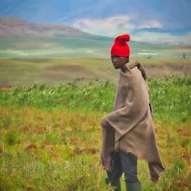Highland Shepherd by Garry Dosa - People Street & Candids ( suspicious, person, shepherd, environmental portrait,  )