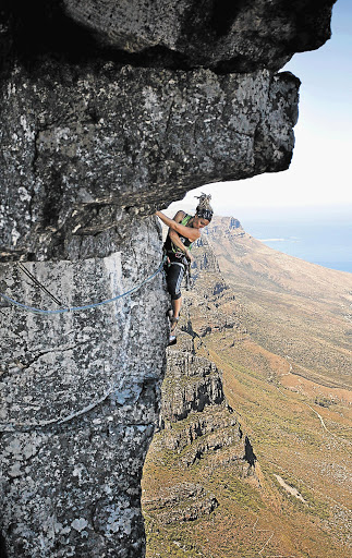 CRAG CRAB: Marianne Schwankhart traverses the Cableway Crag Picture: CLAIRE KEETON