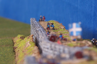 Photo: I bastioni della città. Miniature Baccus, materiale scenico autocostruito.