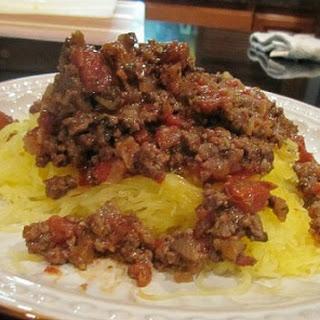 Spaghetti Squash with Italian Meat Sauce.