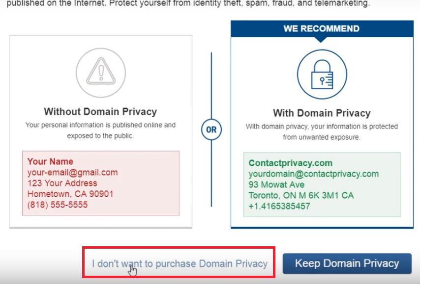 Đăng ký Fatcow Hosting - no Privacy