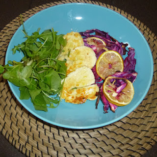 Garlic and Lemon Roasted Red Cabbage with Halloumi