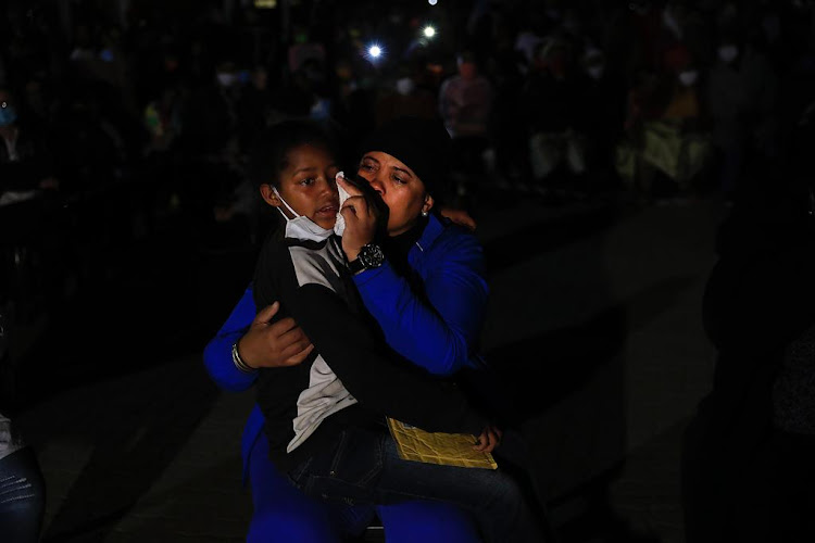 Family and friends of Nateniël Julies at his memorial service in Eldorado Park on Thursday evening. The teenager was allegedly shot and killed by police.
