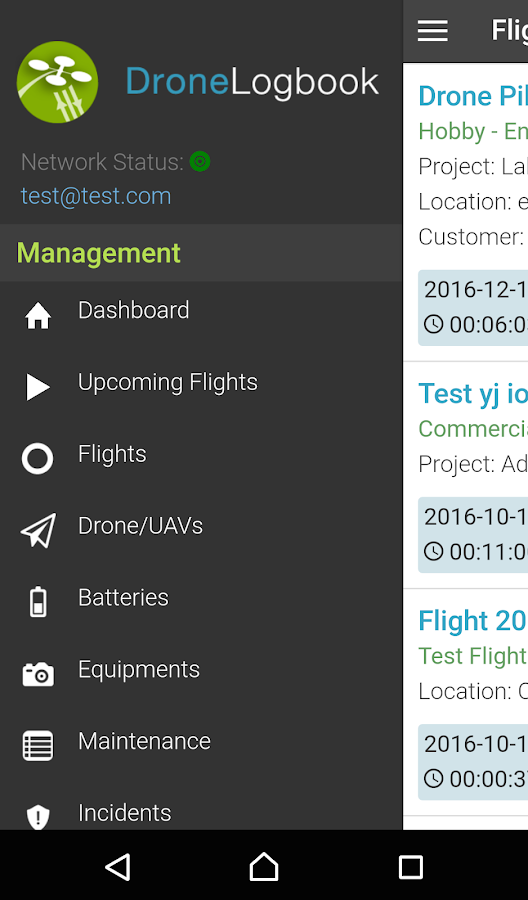 DroneLogbook Mobile- screenshot