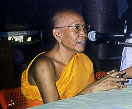 Photo: The Sangharaja, Supreme Patriarch of Cambodian Buddhism, addresses the cinference. Just a few feews later he presided as a preceptor at the ordination of 50 Theravada bhikkhunis in Bodhgaya.