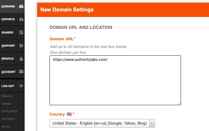 add domain URL in authority labs