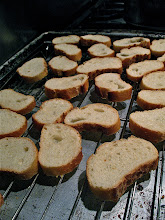 Photo: sliced sourdough baguette dried in oven