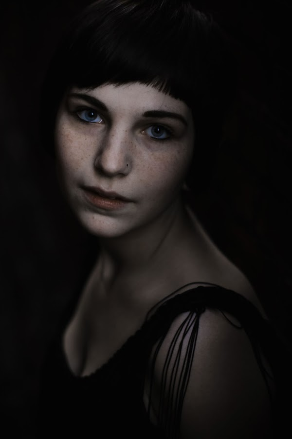 by Matt Sellers - People Portraits of Women ( blue eyes freckles dark hair black dress )