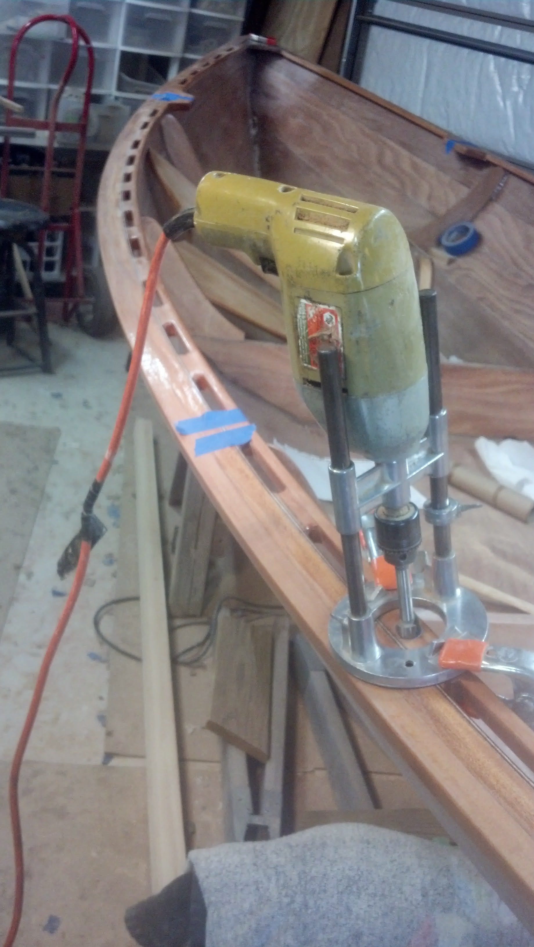"Photo: Drilling the 13/16"" holes for the oar lock sockets"
