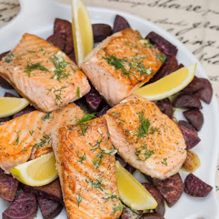 Pan-Seared Salmon with Lemon-Dill Butter + Roasted Purple Sweet Potatoes