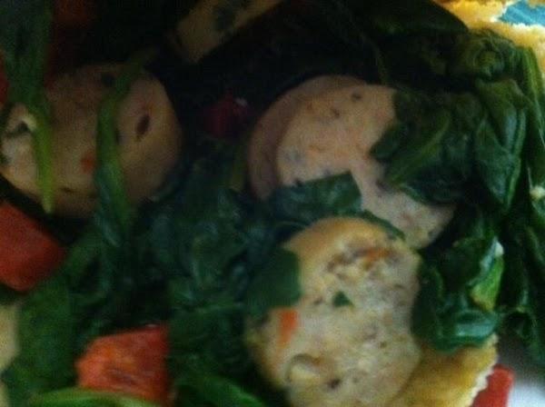 Chicken Sausage Pita W/spinach & Red Pepper Recipe