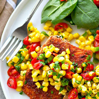 Blackened Grilled Salmon with 'Kickin Corn Pico de Gallo