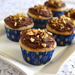 Hazelnut Cupcakes with Hazelnut-Chocolate Frosting (Eggless Recipe)