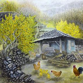 The Barnyard by Myong Dutton - Painting All Painting ( farm, barnyard, barn, chickens, stone wall, korean )