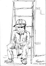 Photo: 老工人2010.11.14鋼筆 車檢口施工的這位老工人對監獄的工作充滿好奇,像是在找女婿那樣不斷對著我問東問西…