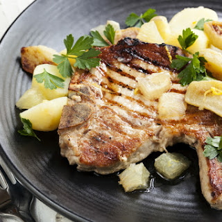 Pork Chops and Apple Bourbon Sauce.